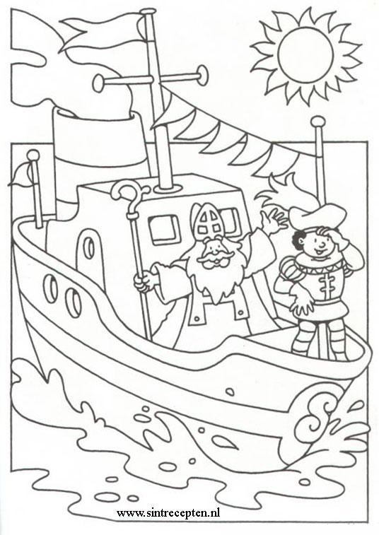 Kleurplaten Sinterklaas Stoomboot.Kleurplaten